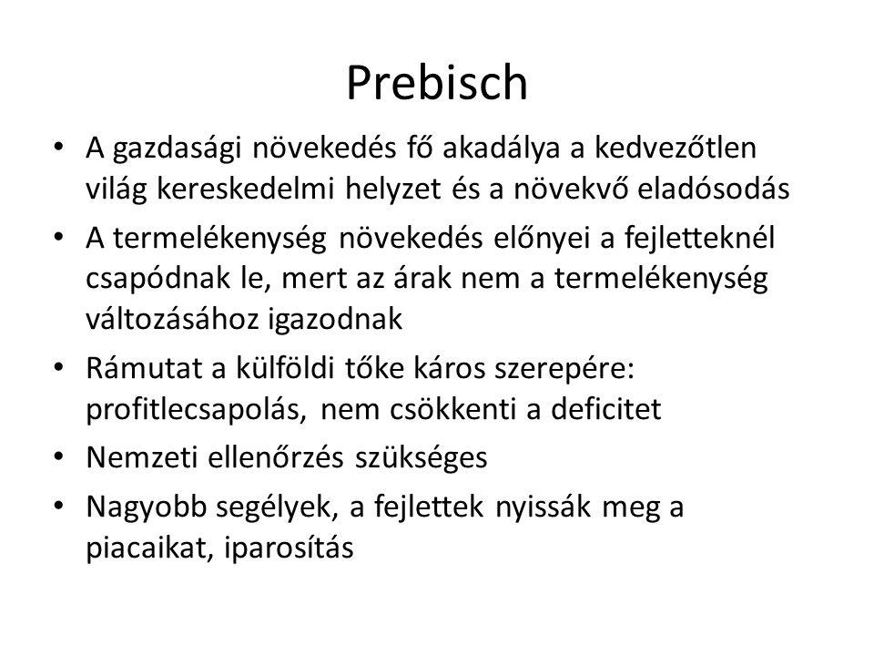 Prebisch A gazdasági növekedés fő akadálya a kedvezőtlen világ kereskedelmi helyzet és a növekvő eladósodás.