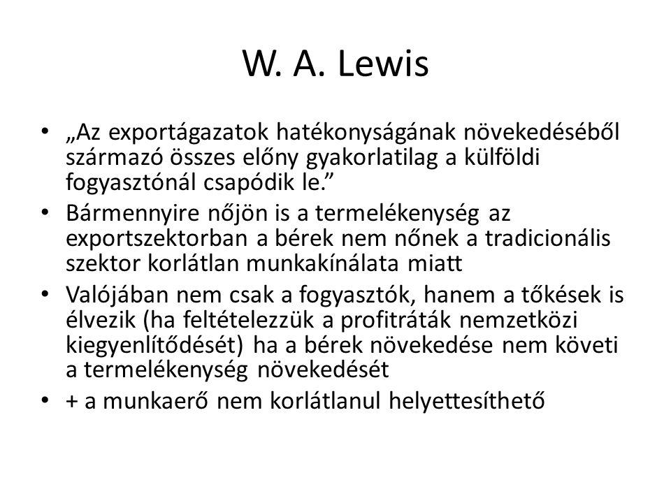 """W. A. Lewis """"Az exportágazatok hatékonyságának növekedéséből származó összes előny gyakorlatilag a külföldi fogyasztónál csapódik le."""