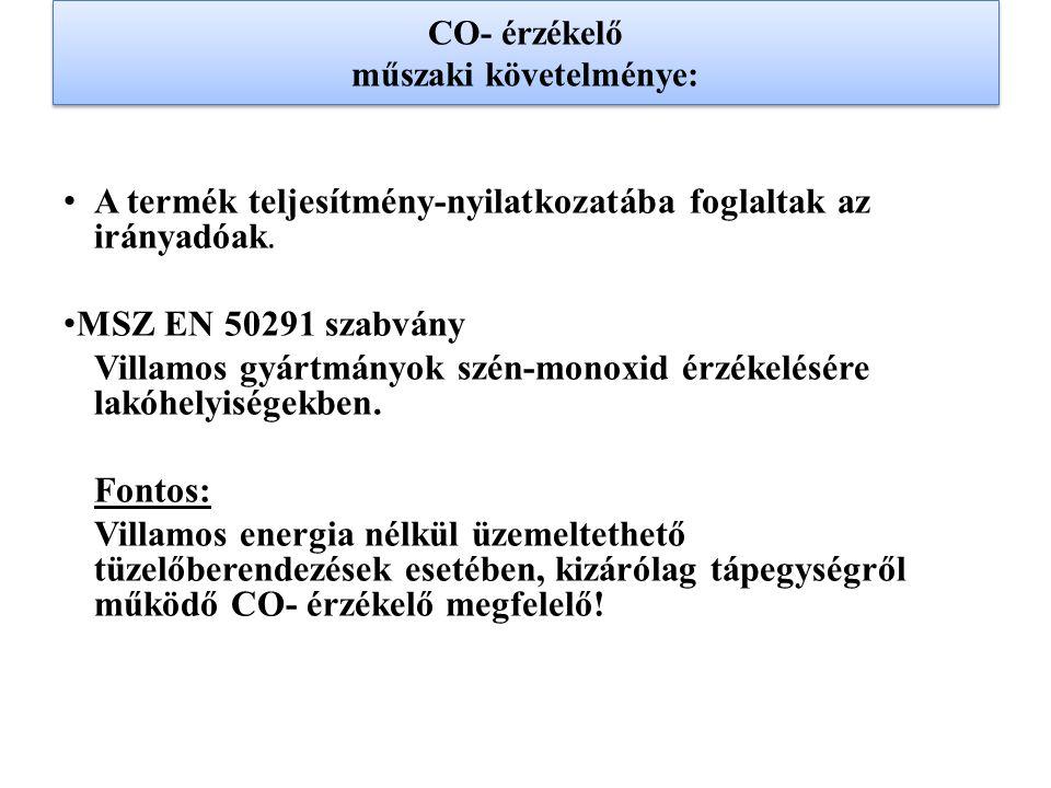 CO- érzékelő műszaki követelménye: