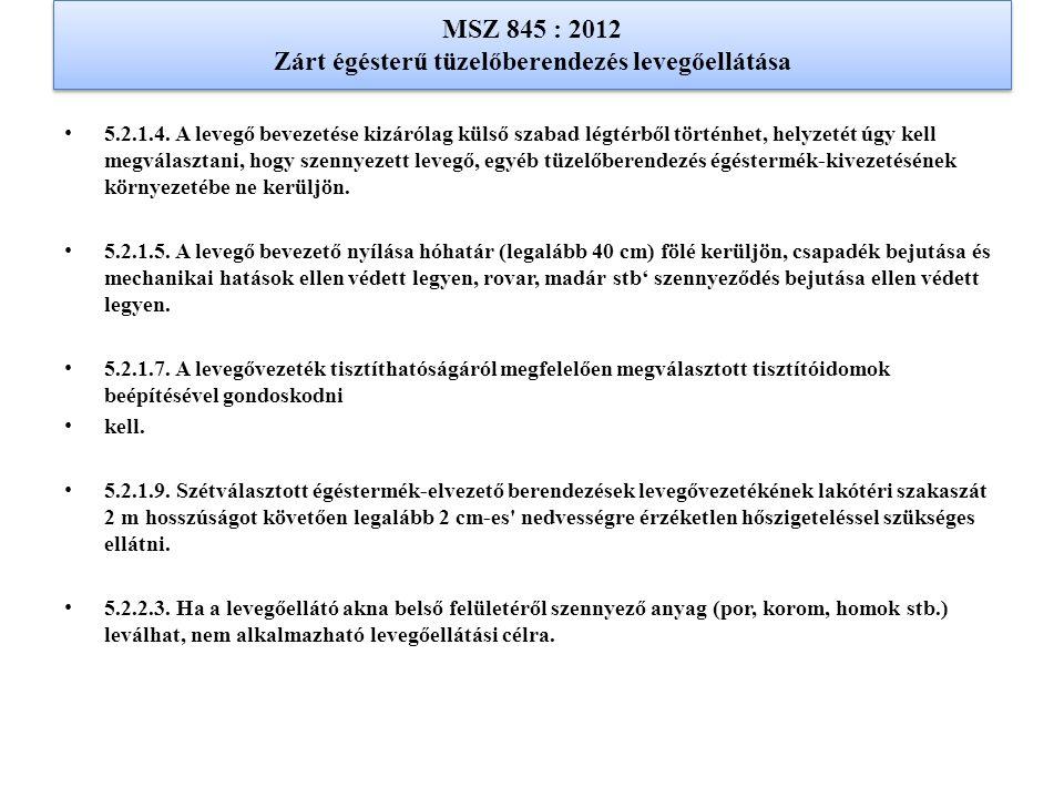MSZ 845 : 2012 Zárt égésterű tüzelőberendezés levegőellátása