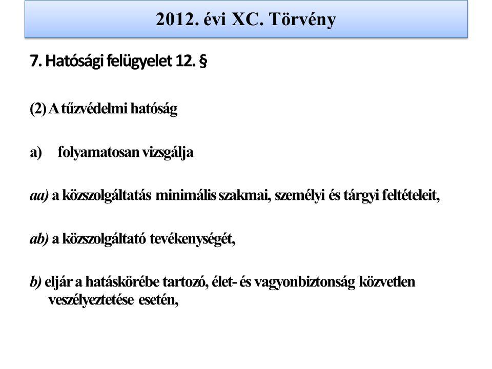 2012. évi XC. Törvény 7. Hatósági felügyelet 12. §