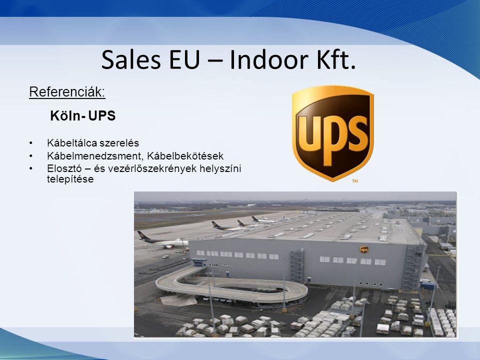Sales EU – Indoor Kft. Referenciák: Köln- UPS Kábeltálca szerelés