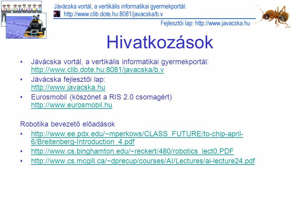 Hivatkozások Jávácska vortál, a vertikális informatikai gyermekportál: http://www.clib.dote.hu:8081/javacska/b.v.