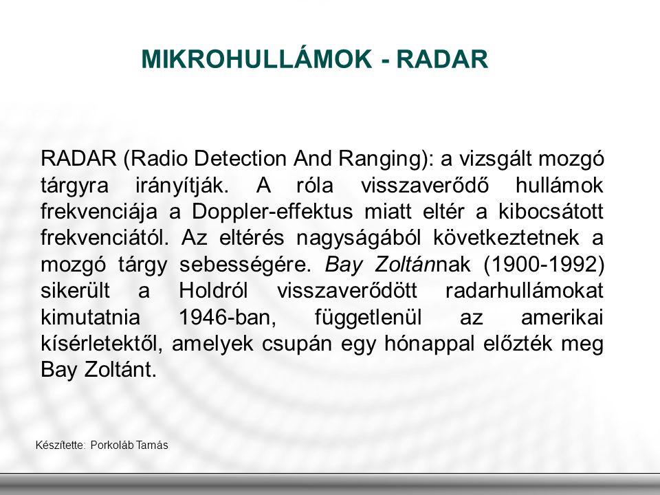 MIKROHULLÁMOK - RADAR