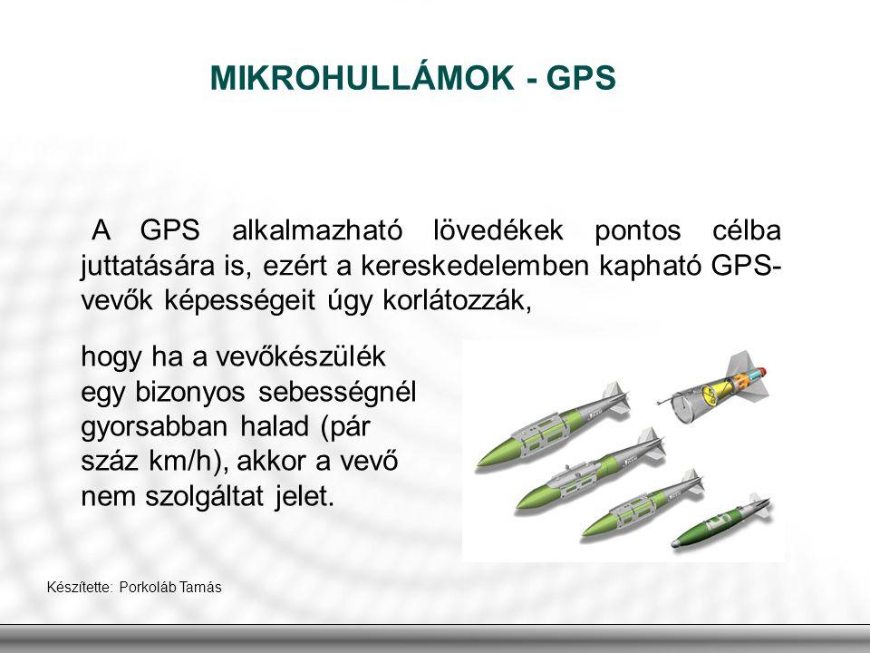 MIKROHULLÁMOK - GPS A GPS alkalmazható lövedékek pontos célba juttatására is, ezért a kereskedelemben kapható GPS-vevők képességeit úgy korlátozzák,
