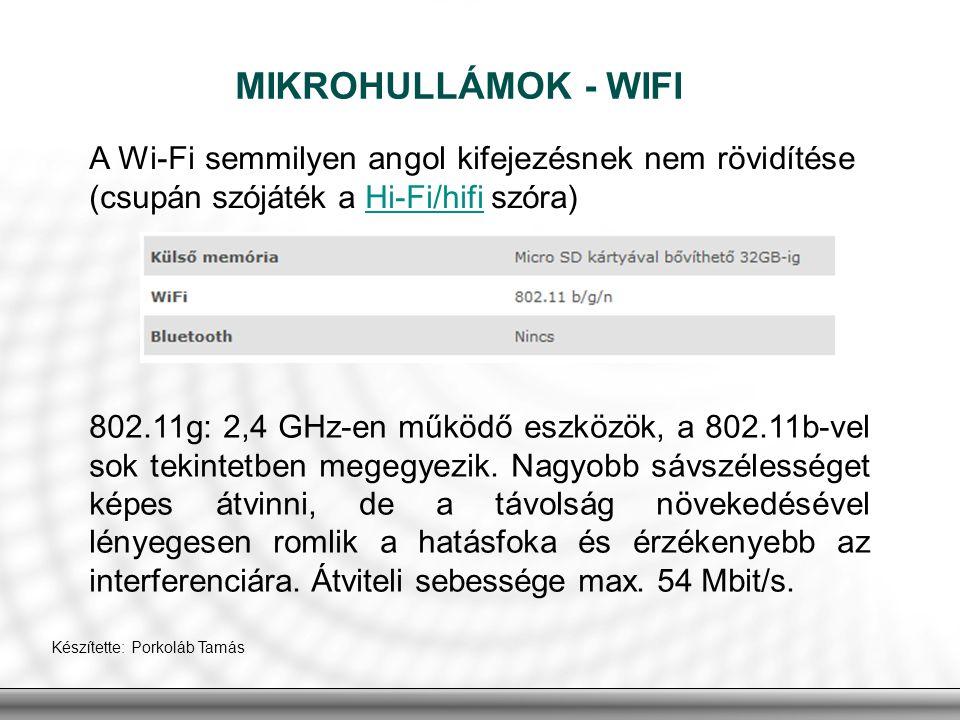 MIKROHULLÁMOK - WIFI A Wi-Fi semmilyen angol kifejezésnek nem rövidítése (csupán szójáték a Hi-Fi/hifi szóra)
