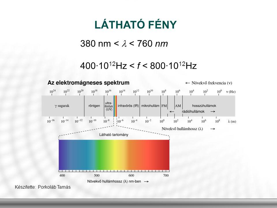 LÁTHATÓ FÉNY 380 nm <  < 760 nm