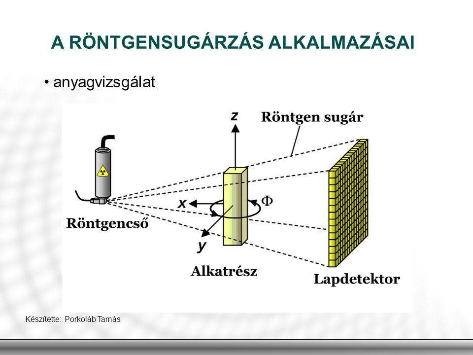 A RÖNTGENSUGÁRZÁS ALKALMAZÁSAI