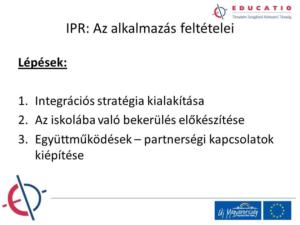 IPR: Az alkalmazás feltételei