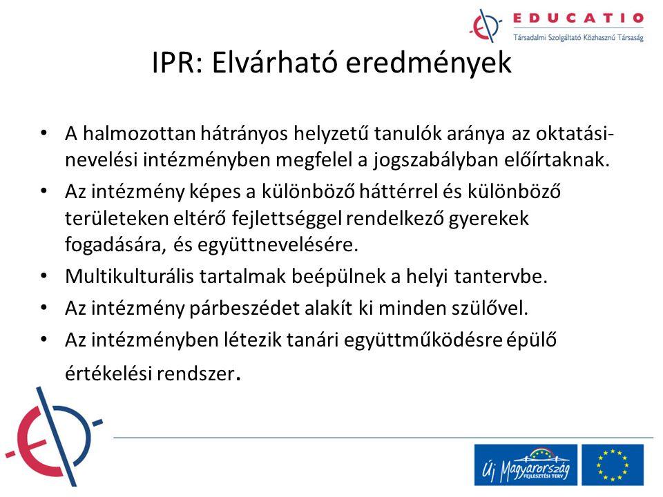 IPR: Elvárható eredmények