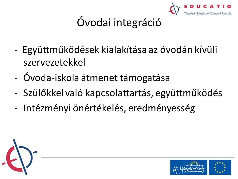 Óvodai integráció - Együttműködések kialakítása az óvodán kívüli szervezetekkel. Óvoda-iskola átmenet támogatása.
