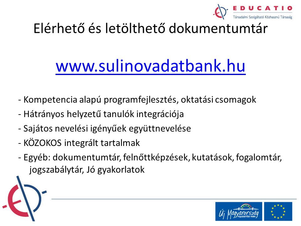 Elérhető és letölthető dokumentumtár