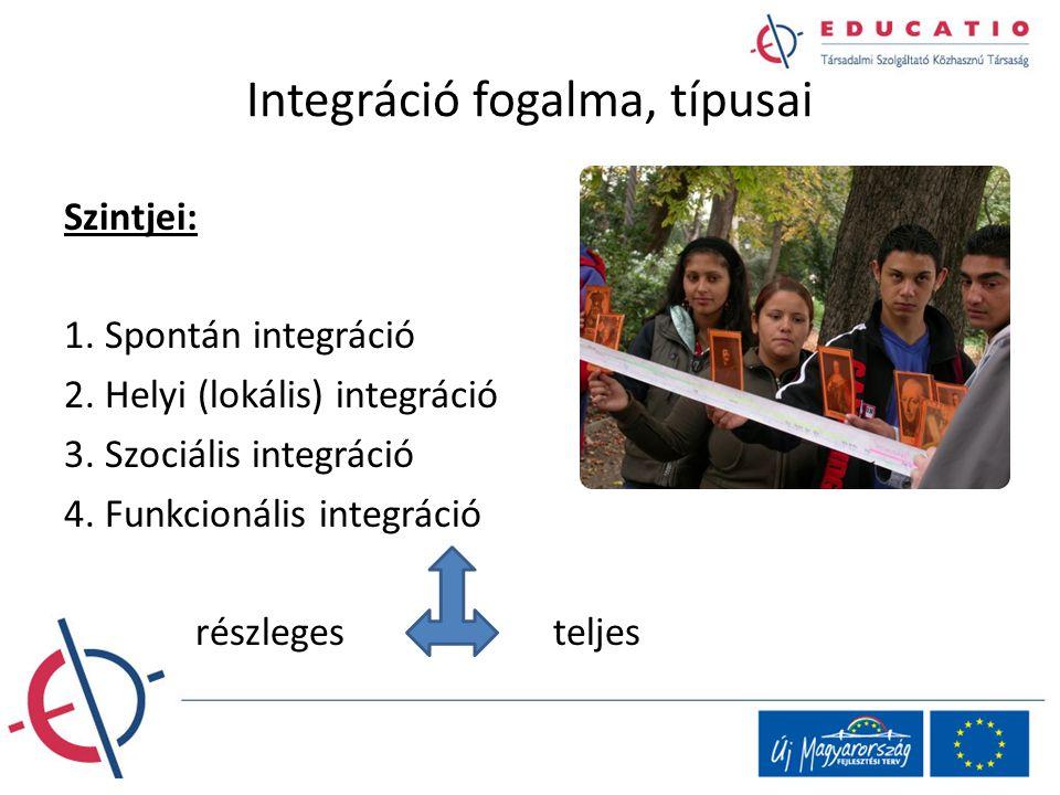Integráció fogalma, típusai