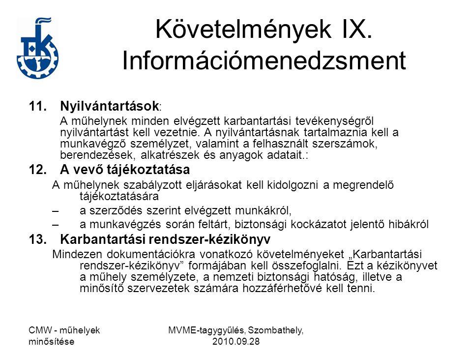Követelmények IX. Információmenedzsment