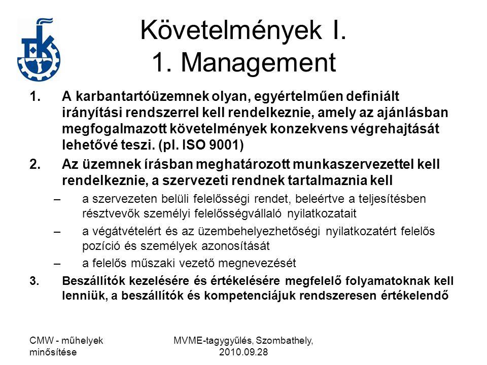 Követelmények I. 1. Management