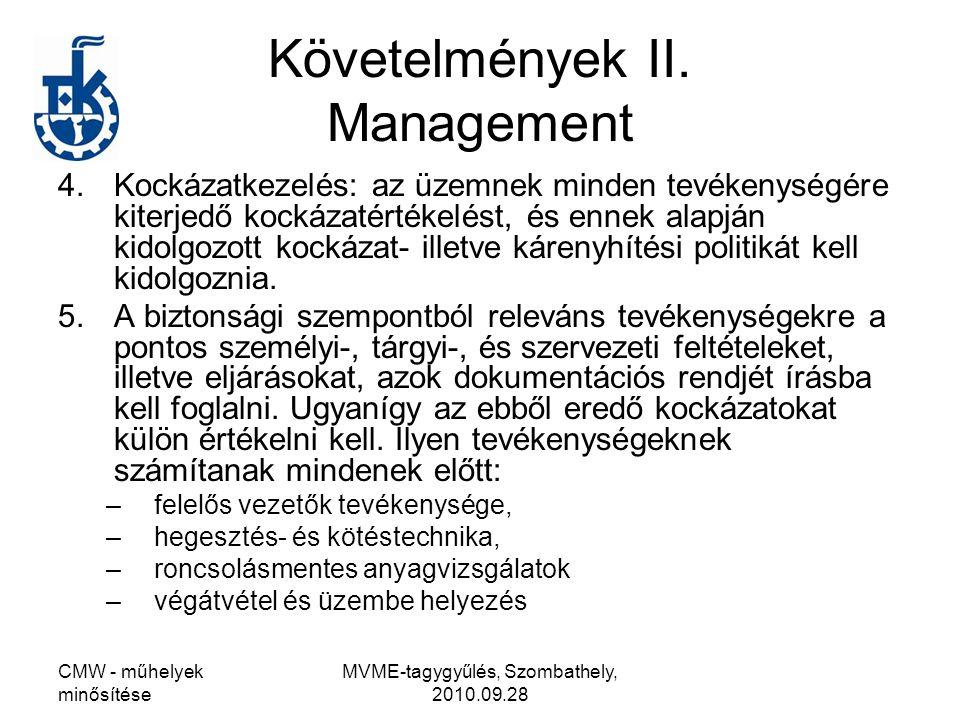 Követelmények II. Management