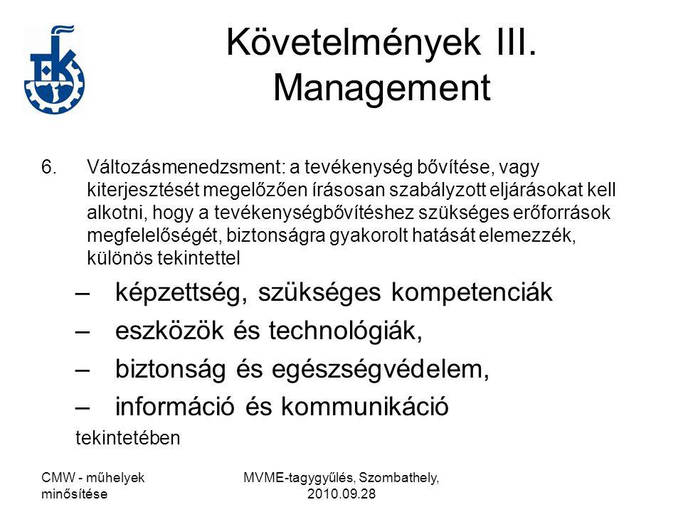 Követelmények III. Management