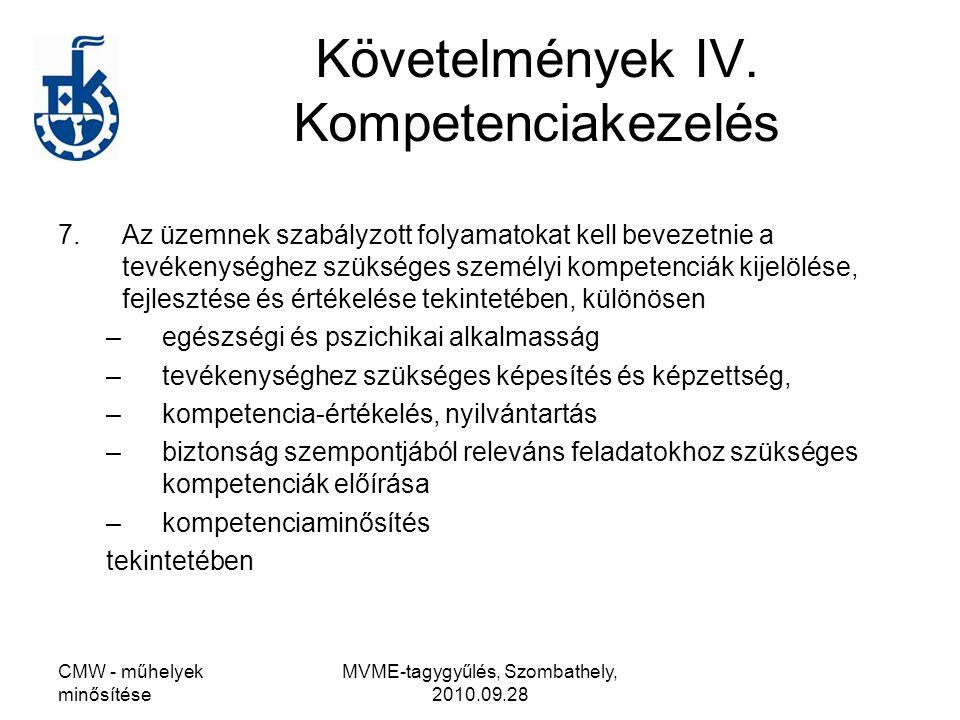 Követelmények IV. Kompetenciakezelés