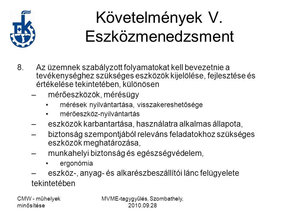 Követelmények V. Eszközmenedzsment