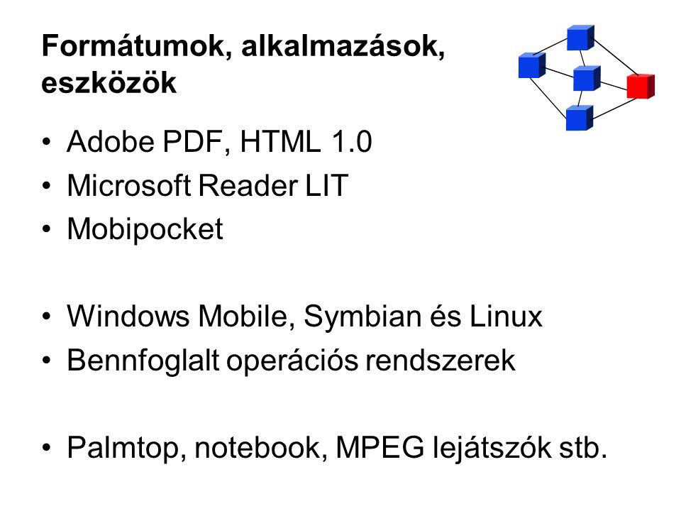 Formátumok, alkalmazások, eszközök