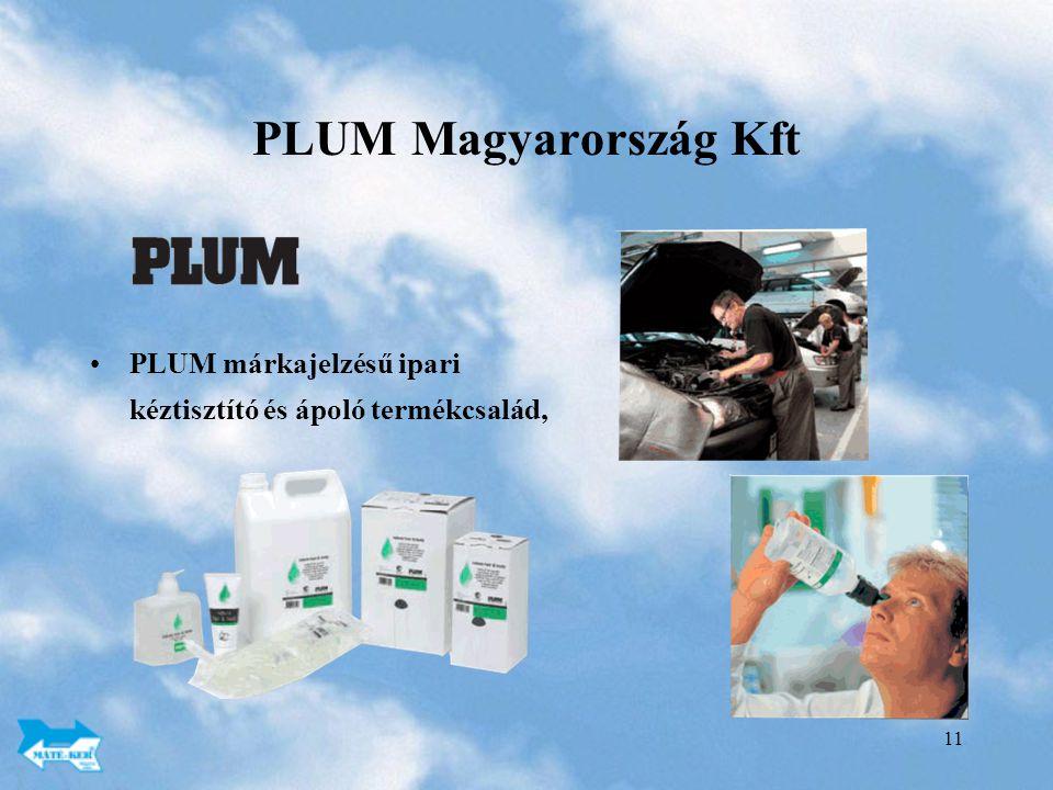 PLUM Magyarország Kft PLUM márkajelzésű ipari kéztisztító és ápoló termékcsalád,