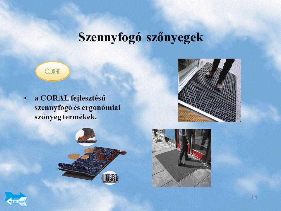 Szennyfogó szőnyegek a CORAL fejlesztésű szennyfogó és ergonómiai szőnyeg termékek.