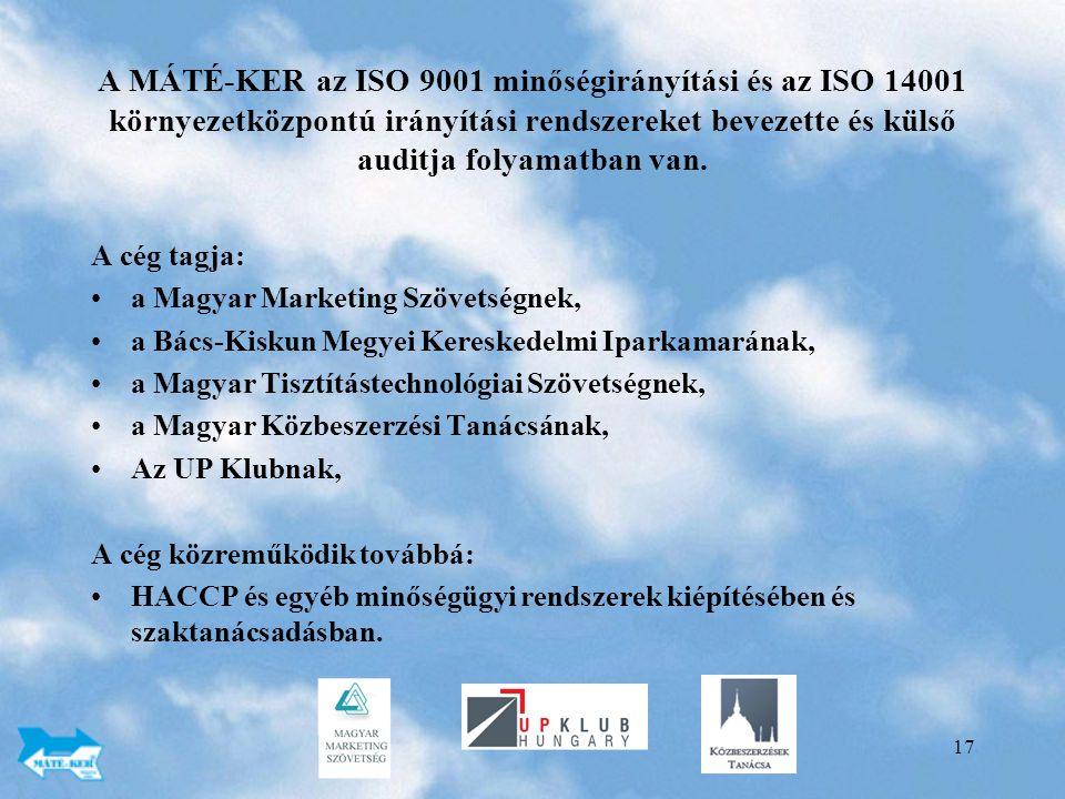 A MÁTÉ-KER az ISO 9001 minőségirányítási és az ISO 14001 környezetközpontú irányítási rendszereket bevezette és külső auditja folyamatban van.