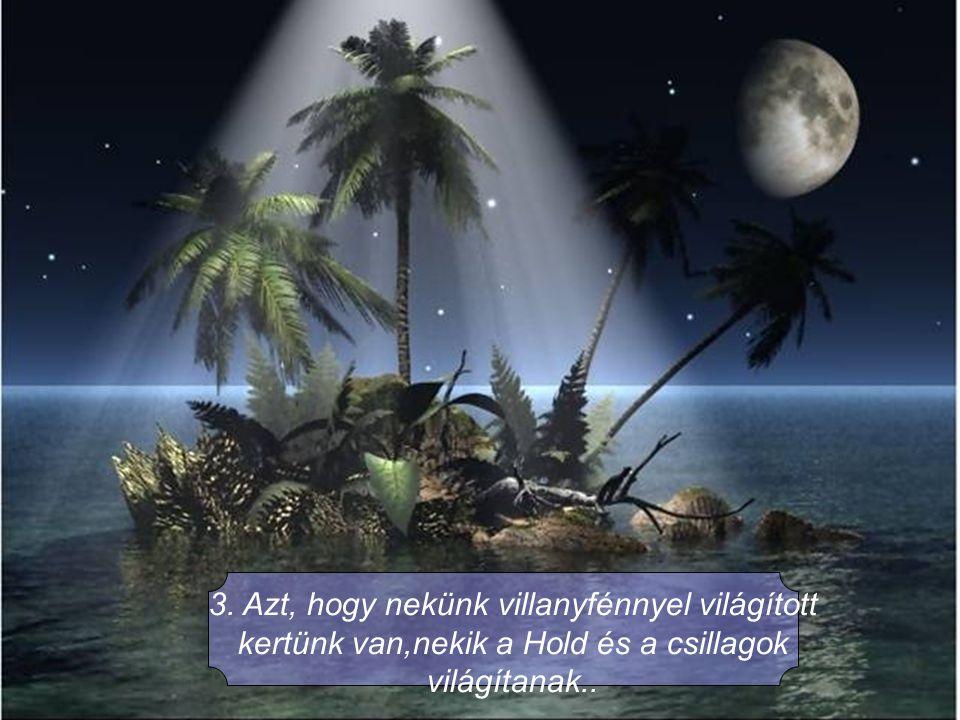 3. Azt, hogy nekünk villanyfénnyel világított kertünk van,nekik a Hold és a csillagok világítanak..