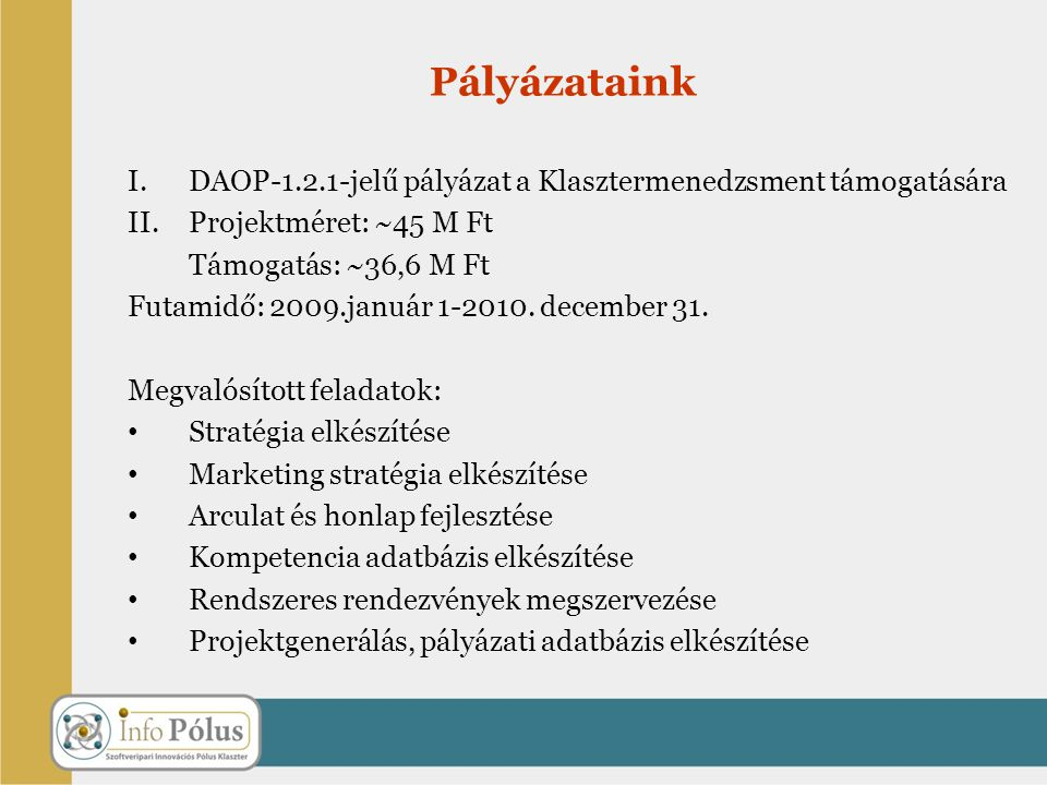 Pályázataink DAOP-1.2.1-jelű pályázat a Klasztermenedzsment támogatására. Projektméret: ~45 M Ft. Támogatás: ~36,6 M Ft.
