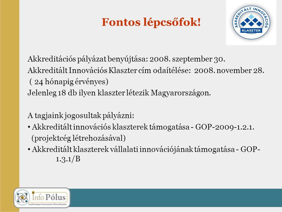 Fontos lépcsőfok! Akkreditációs pályázat benyújtása: 2008. szeptember 30. Akkreditált Innovációs Klaszter cím odaítélése: 2008. november 28.