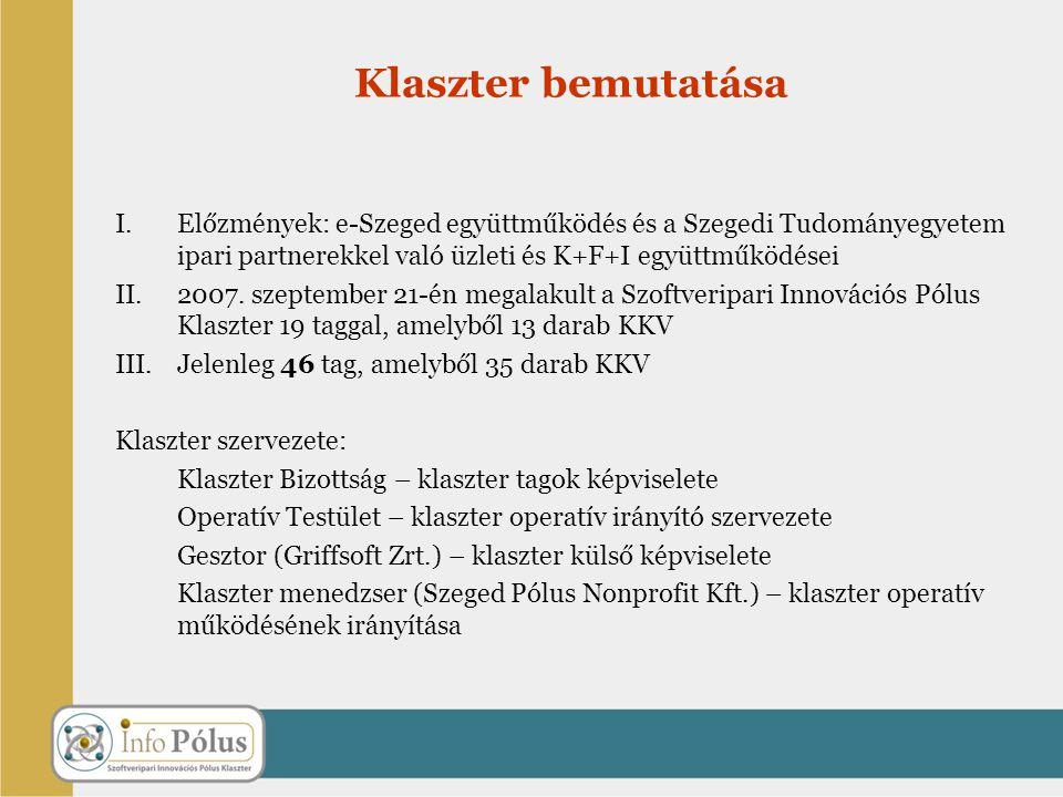 Klaszter bemutatása Előzmények: e-Szeged együttműködés és a Szegedi Tudományegyetem ipari partnerekkel való üzleti és K+F+I együttműködései.