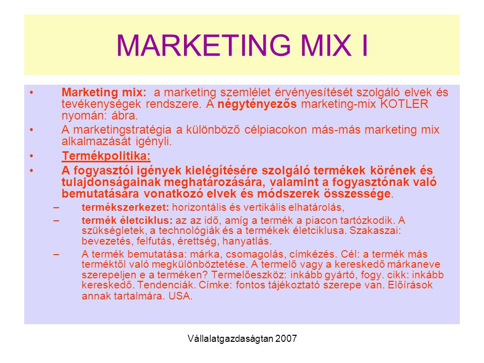 MARKETING MIX I