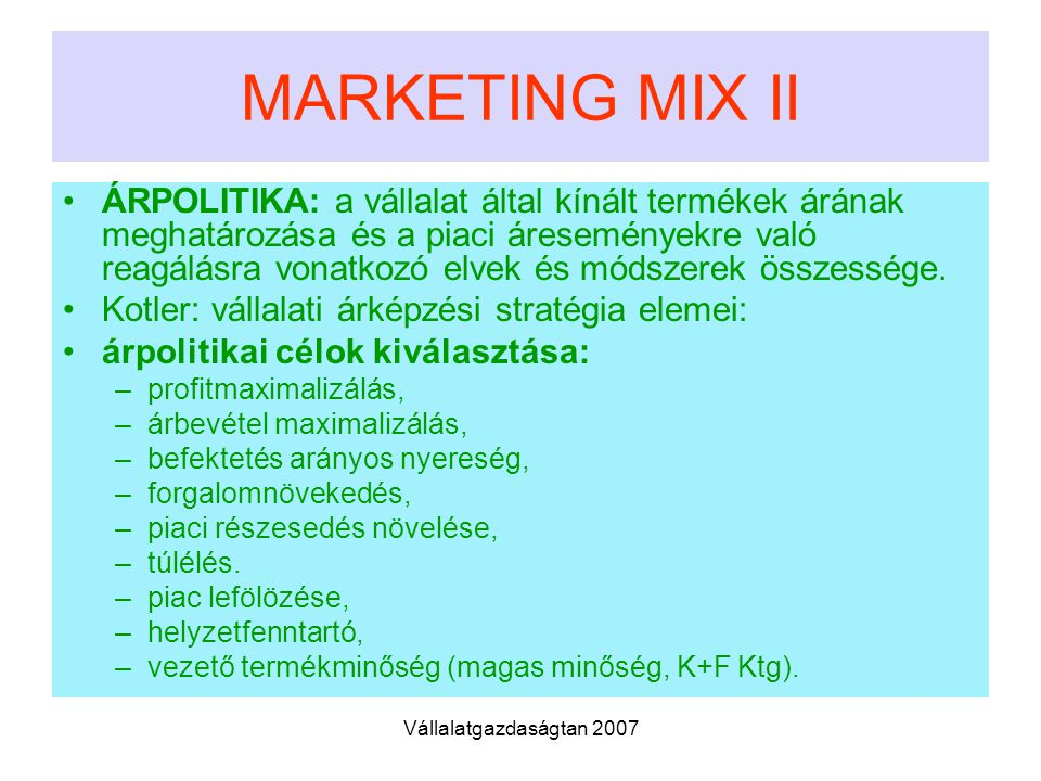 MARKETING MIX II