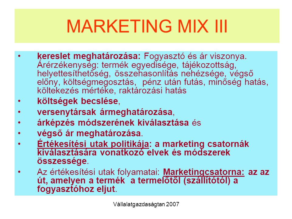 MARKETING MIX III