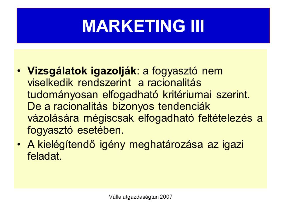 MARKETING III MARKETING III