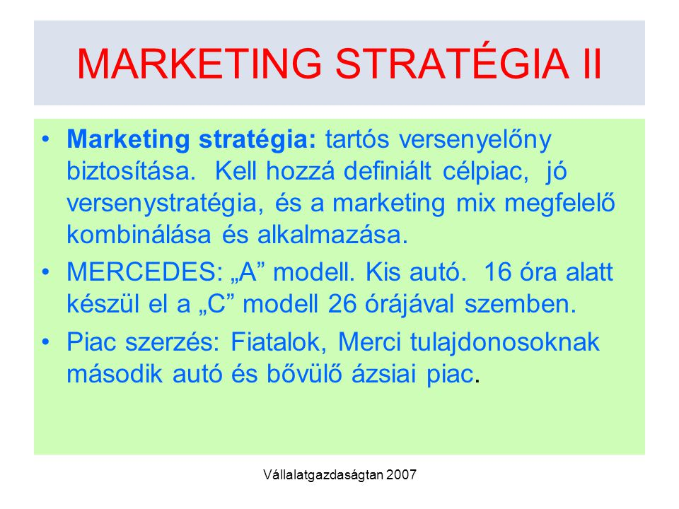 MARKETING STRATÉGIA II