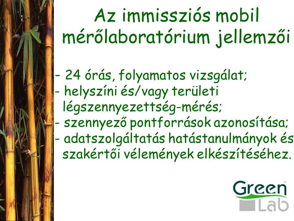 Az immissziós mobil mérőlaboratórium jellemzői
