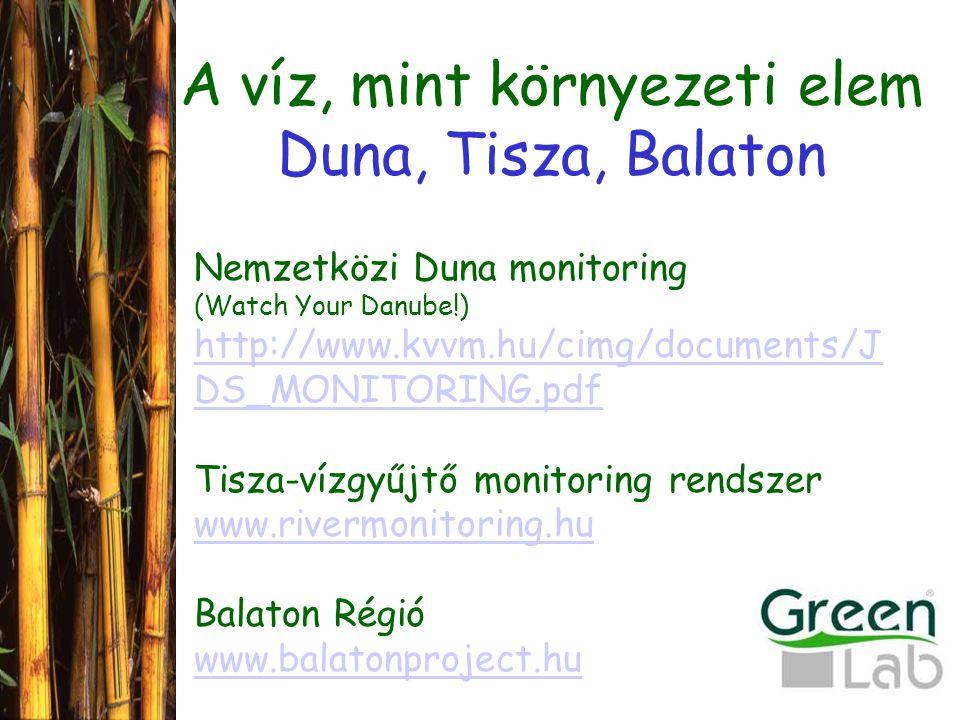 A víz, mint környezeti elem Duna, Tisza, Balaton