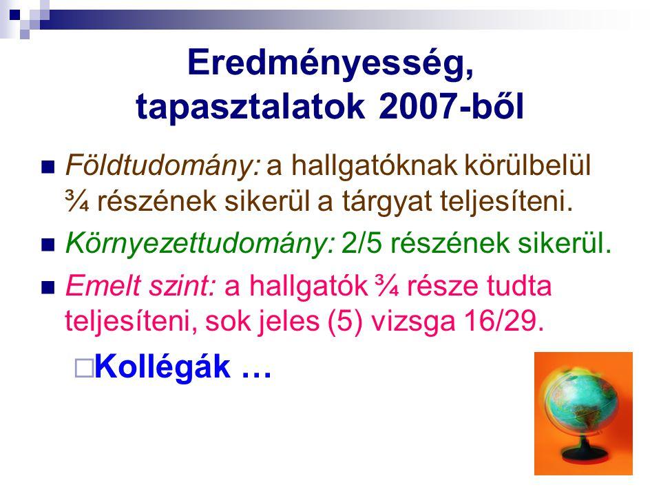 Eredményesség, tapasztalatok 2007-ből