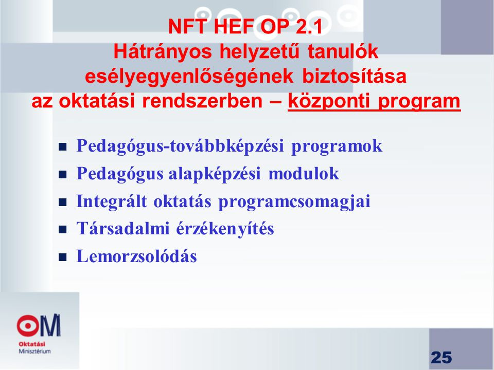 NFT HEF OP 2.1 Hátrányos helyzetű tanulók esélyegyenlőségének biztosítása az oktatási rendszerben – központi program