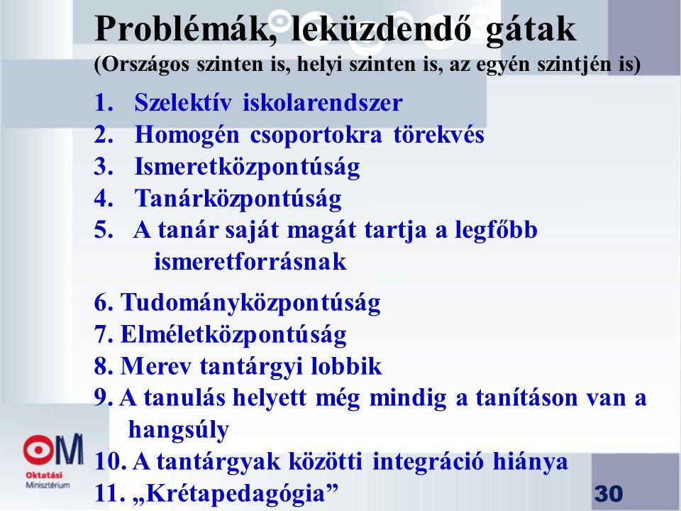 Problémák, leküzdendő gátak