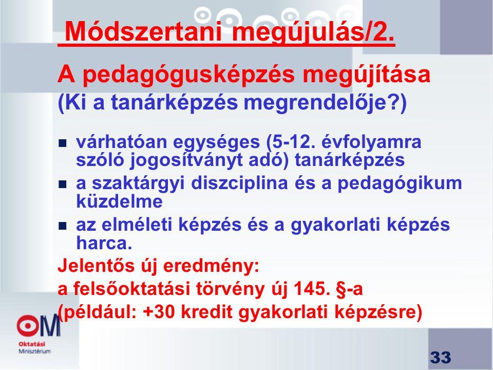 Módszertani megújulás/2. A pedagógusképzés megújítása