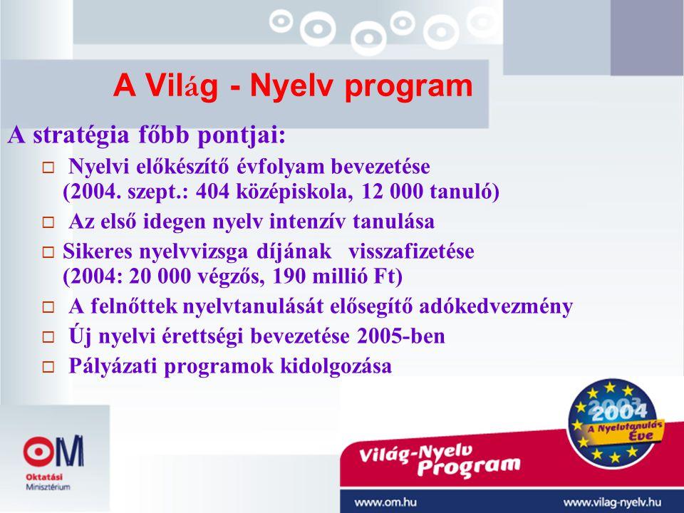 A Világ - Nyelv program A stratégia főbb pontjai:
