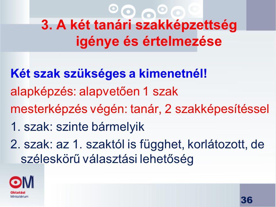 3. A két tanári szakképzettség igénye és értelmezése