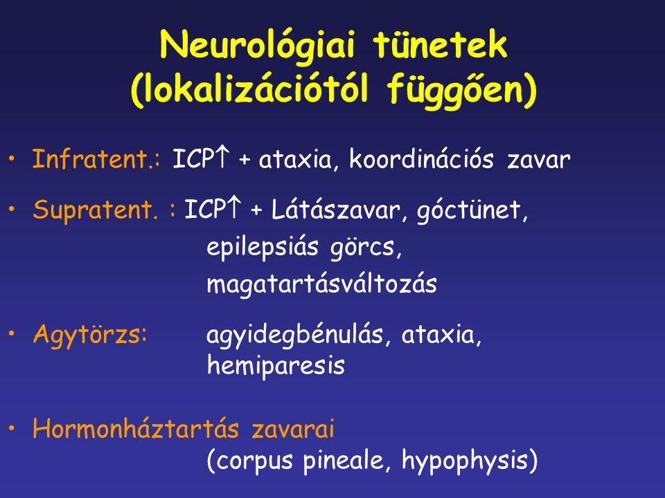 Neurológiai tünetek (lokalizációtól függően)