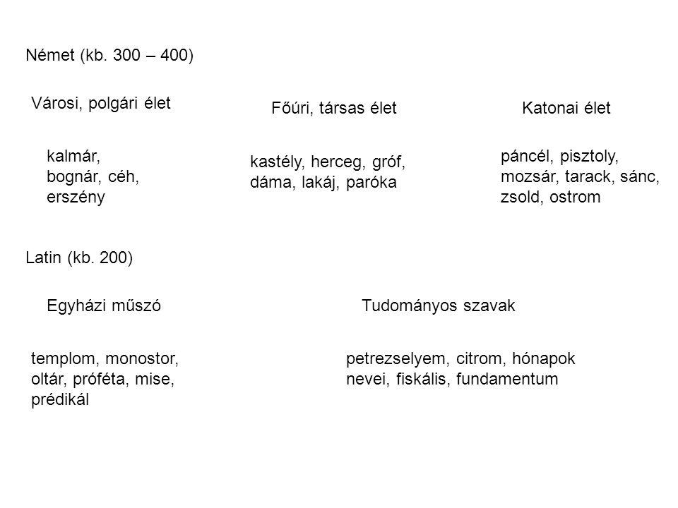 Német (kb. 300 – 400) Városi, polgári élet. Főúri, társas élet. Katonai élet. kalmár, bognár, céh, erszény.