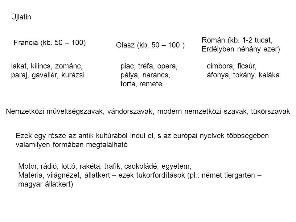 Újlatin Román (kb. 1-2 tucat, Erdélyben néhány ezer) Francia (kb. 50 – 100) Olasz (kb. 50 – 100 )