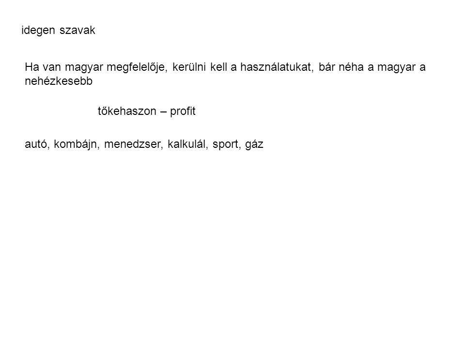 idegen szavak Ha van magyar megfelelője, kerülni kell a használatukat, bár néha a magyar a nehézkesebb.