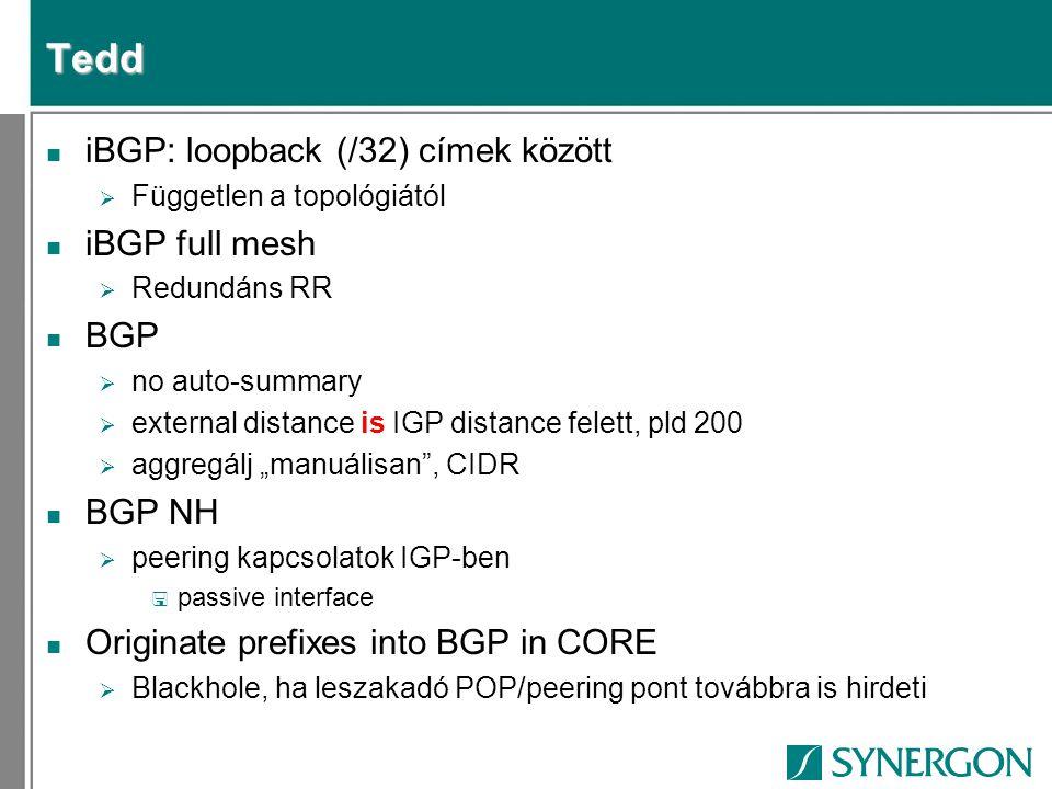 Tedd iBGP: loopback (/32) címek között iBGP full mesh BGP BGP NH