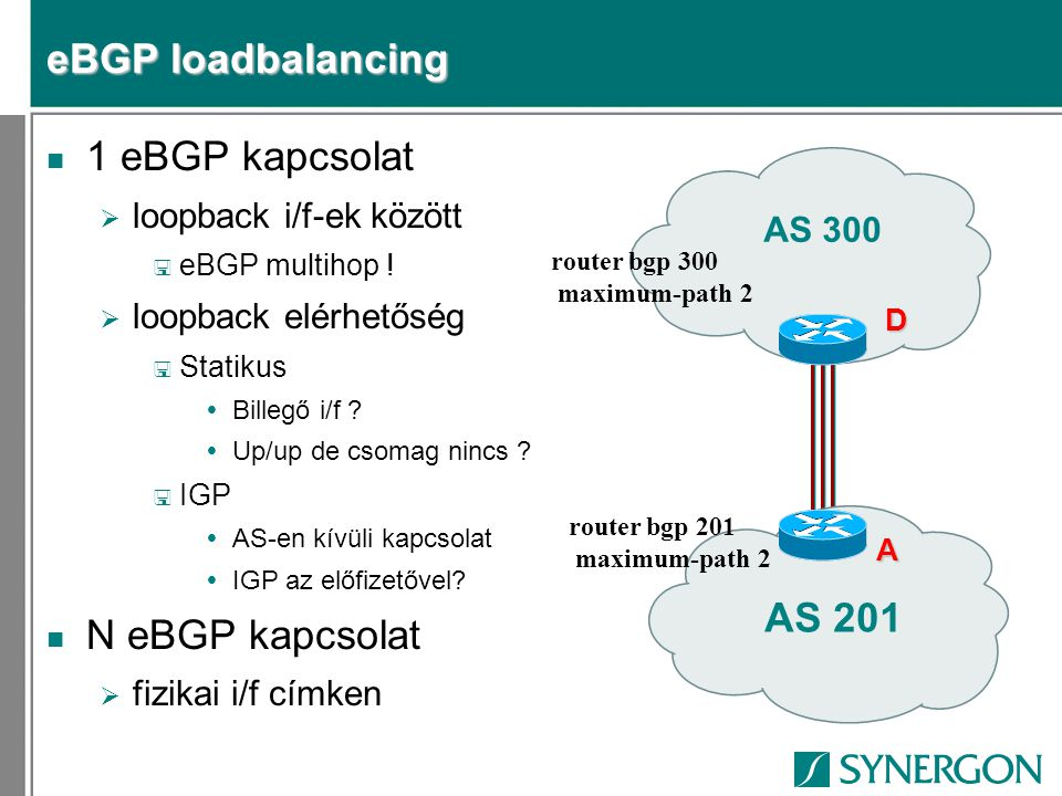 eBGP loadbalancing 1 eBGP kapcsolat N eBGP kapcsolat AS 201